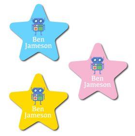 30 Star Robot Name Labels