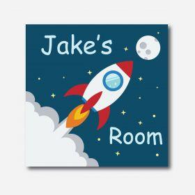 Personalised Kids Room Canvas - Rocket (Square)