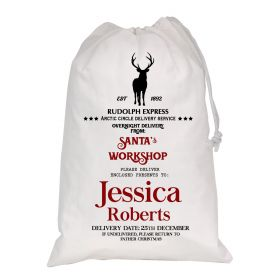 White Christmas Personalised Sack - Rudolph Express