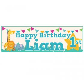 Giant Personalised Birthday Banner - Safari Animals Blue