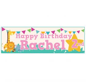 Giant Personalised Birthday Banner - Safari Animals Pink