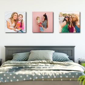 Set of 3 x Square 14in x 14in - Personalised Canvas