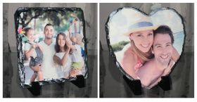 Personalised Photo Slate Heart & Square