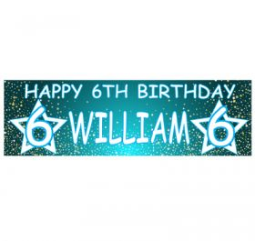 Giant Personalised Birthday Banner - Stars Blue