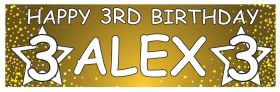 Personalised Birthday Banner Stars - Gold