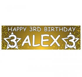 Giant Personalised Birthday Banner - Stars Gold