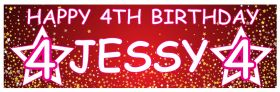 Personalised Birthday Banner Stars - Red