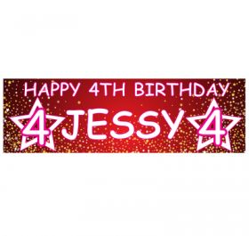 Giant Personalised Birthday Banner - Stars Red