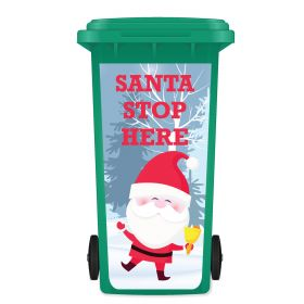 CHRISTMAS WHEELIE BIN STICKER PANEL - Santa Stop Here A01