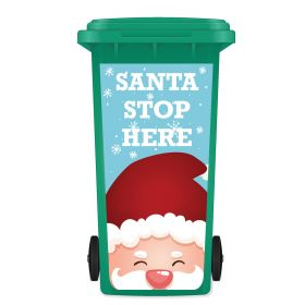 CHRISTMAS WHEELIE BIN STICKER PANEL - Santa Stop Here B02