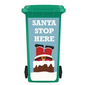 CHRISTMAS WHEELIE BIN STICKER PANEL - Santa Stop Here C03
