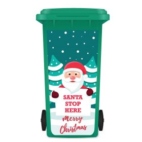 CHRISTMAS WHEELIE BIN STICKER PANEL - Santa Stop Here D04