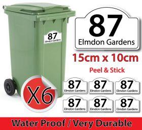 x6 Personalised House Number & Street Name Wheelie Bin Stickers (R001)