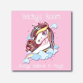 Personalised Kids Room Canvas - Unicorn (Square)