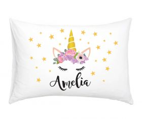 Flower Wreath - Unicorn Personalised Pillow Case