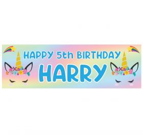 Giant Personalised Birthday Banner - Unicorns Blue N2020