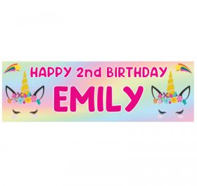 Giant Personalised Birthday Banner - Unicorns Pink N2020