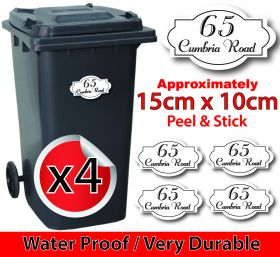 x4 Personalised Number & Street Name Wheelie Bin Stickers (Vintage 298)