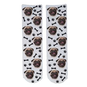 Personalised Pet Face Socks - White (D_Bone_Pattern)
