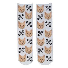 Personalised Pet Face Socks - White (C_FishB/Paw_Pattern)