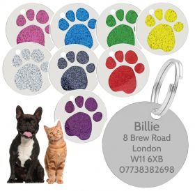 Personalised Engraved Pet Tag - Round Paw (RPW_056)