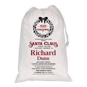 White Christmas Personalised Sack - Wreaths