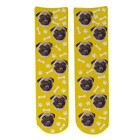 Personalised Pet Face Socks - Yellow (D_Bone_Pattern)