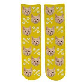 Personalised Pet Face Socks - Yellow (C_FishB/Paw_Pattern)