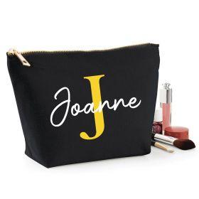 Personalised Name Black Make Up Bag - Yellow (ITL#)
